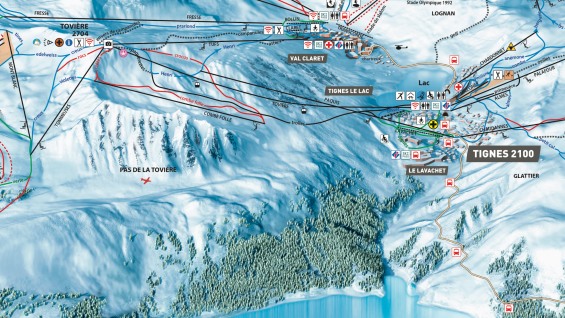 Tignes piste map showing the local lifts and pistes