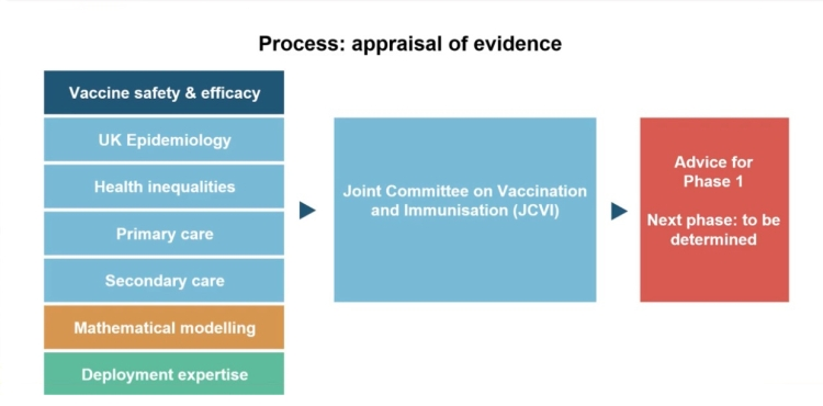 The process of assessment of the safety and priorities for the UK vaccination offer